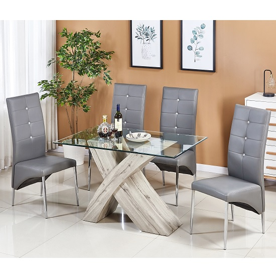 Xanti Glass Dining Table Small In Grey Oak With 4 Vesta Chairs