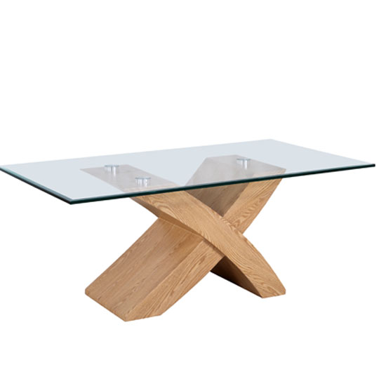 Xanti Clear Glass Top Coffee Table With Oak X Wooden Base 17