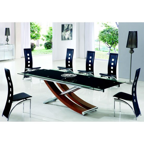 Xena Walnut Extending Glass Dining Table And 6 Manhattan Chairs