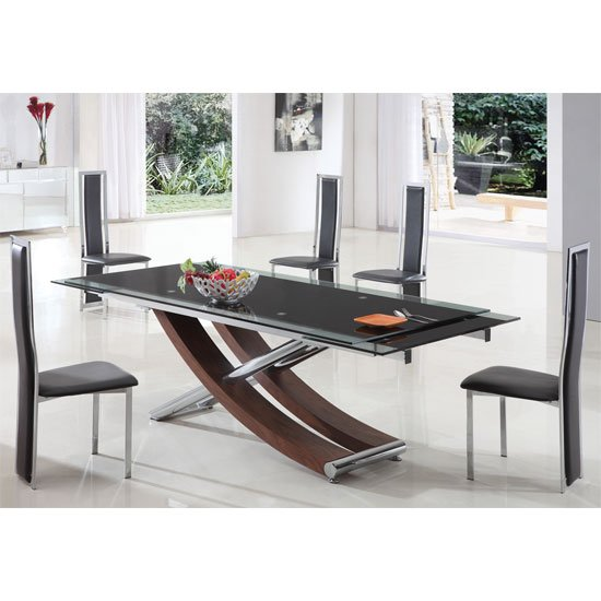 Xena Walnut Extending Glass Dining Table And 6 Dining Chairs