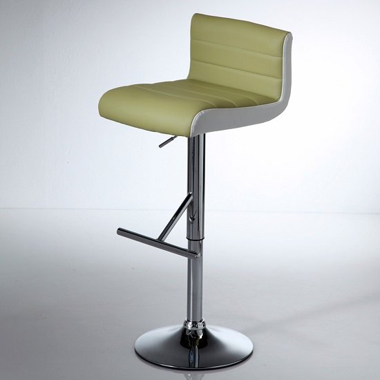 Xara Modern Bar Stool In Lime Faux Leather With Chrome Base