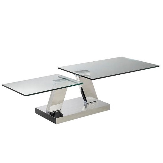 Xavi Swivel Extending Glass Coffee Table In Clear