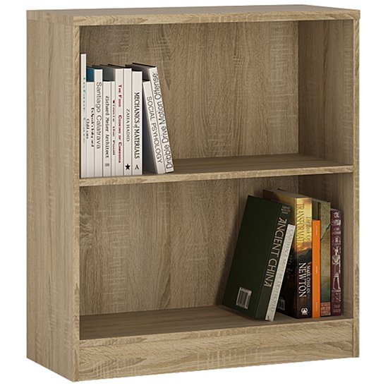 Xeka Low Wide 1 Shelf Bookcase In Sonama Oak
