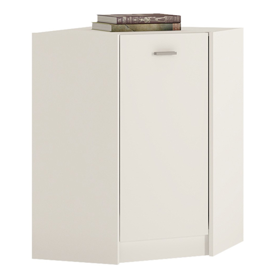 Xeka Wooden 1 Door Corner Storage Cabinet In Pearl White