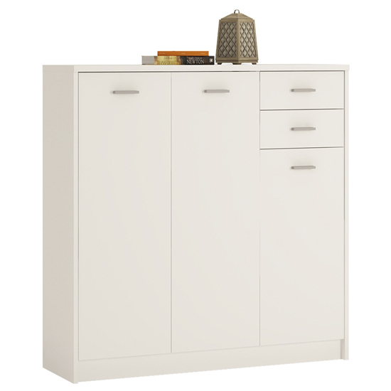 Xeka Wooden Tall 3 Doors 2 Drawers Sideboard In Pearl White