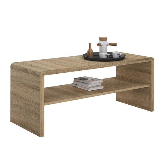 Xeka Wooden Under Shelf Coffee Table In Sonoma Oak