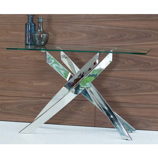Xenon Console Table In Clear Glass With Stainless Steel Base