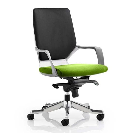 View Xenon medium black back office chair in myrrh green seat