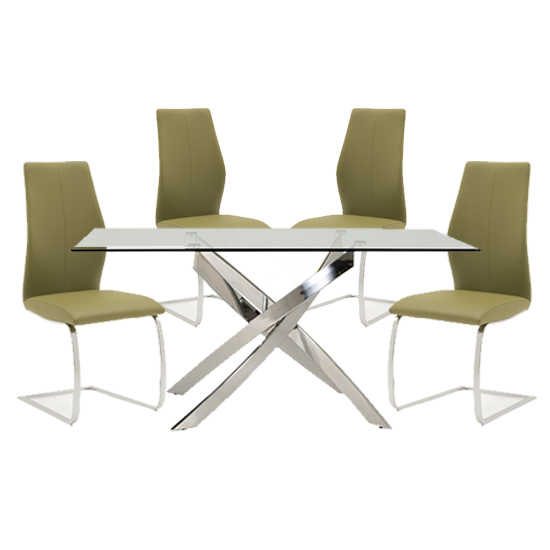 Xenon Rectangular Glass Dining Table With 4 Bernie Olive Chairs