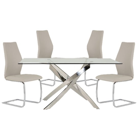 Xenon Rectangular Glass Dining Table With 4 Bernie Taupe Chairs