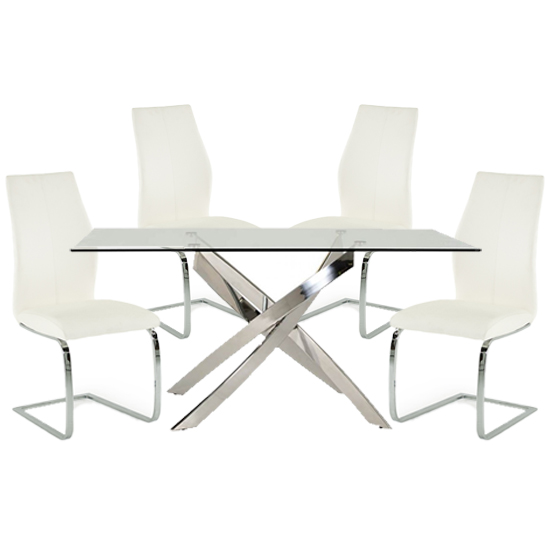 Xenon Rectangular Glass Dining Table With 4 Bernie White Chairs