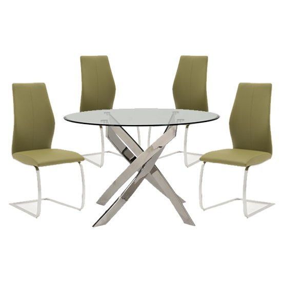 Xenon Round Glass Dining Table With 4 Bernie Olive Chairs