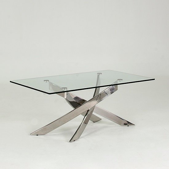 Xenon Glass Coffee Table In Clear With Stainless Steel Base