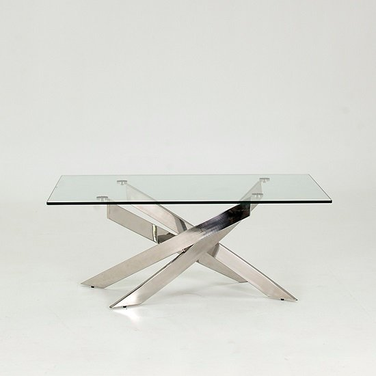 Xenon Glass Coffee Table In Clear With Stainless Steel Base_2