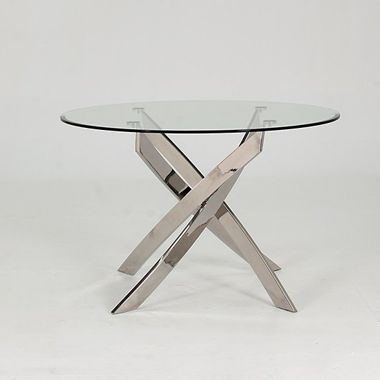 Xenon Dining Table Round In Clear Glass And Stainless Steel Base