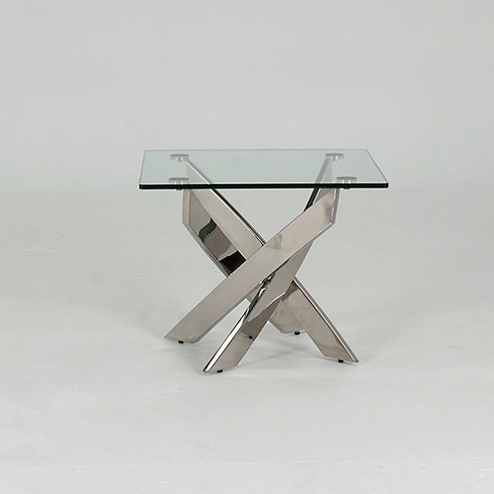 Xenon Glass End Table Square In Clear With Stainless Steel Base