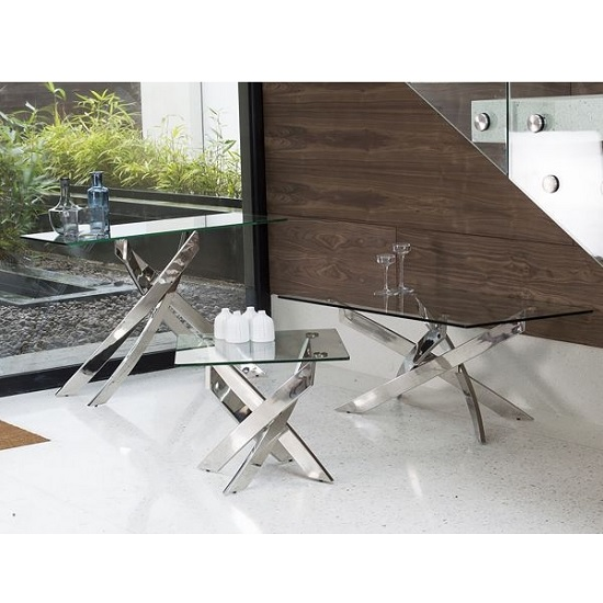 Xenon Glass Coffee Table In Clear With Stainless Steel Base_3
