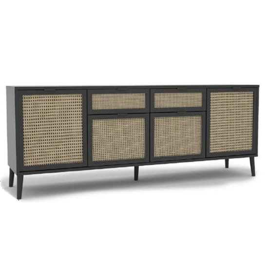Xienna Wooden 6 Doors Sideboard In Black And Natural Effect