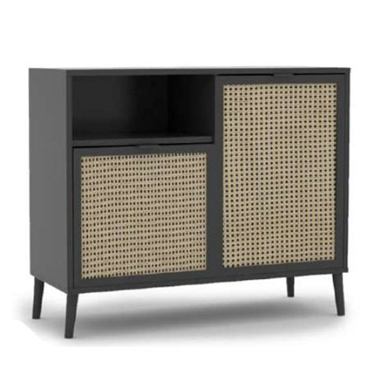Xienna Wooden Storage Cabinet In Black And Natural Effect