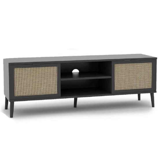 Xienna Wooden TV Stand In Black And Natural Effect