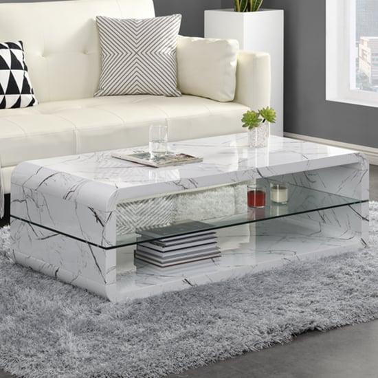 Xono Gloss Coffee Table With Shelf In Vida Marble Effect
