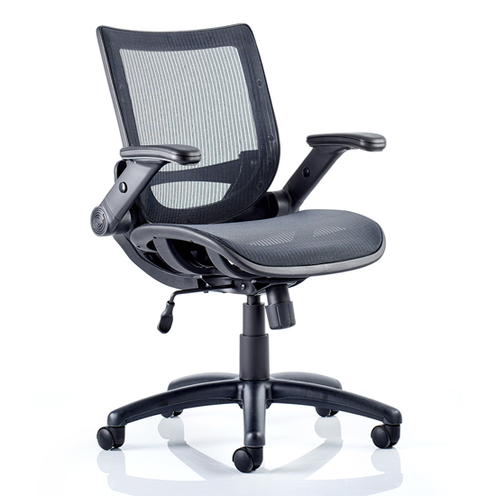 Yakima Mesh Executive Office Chair In Black With Folding Arms