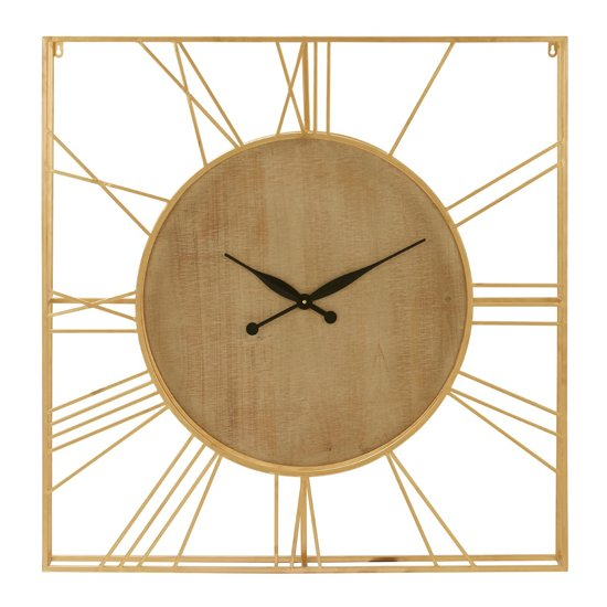 Yaxtone Natural Solid Wooden Wall Clock In Gold Frame