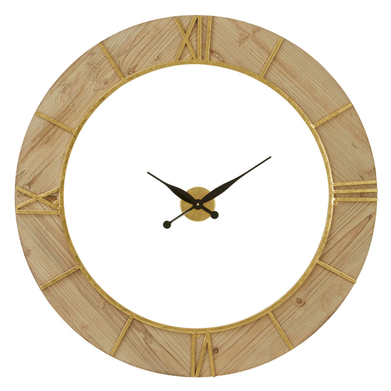 View Yaxtone round wooden wall clock in natural and white