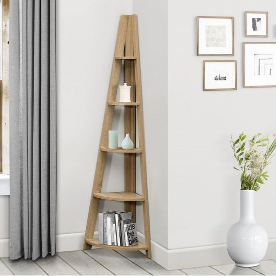 Yoder Wooden Corner Bookcase In Oak With 5 Shelves_1