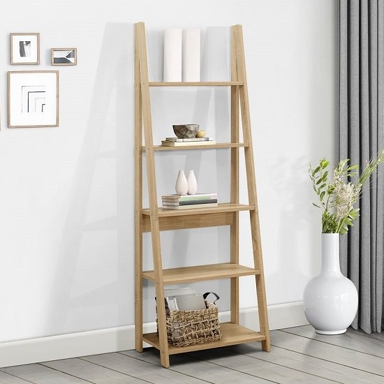 Yoder Wooden Ladder Bookcase In Oak With 5 Shelves