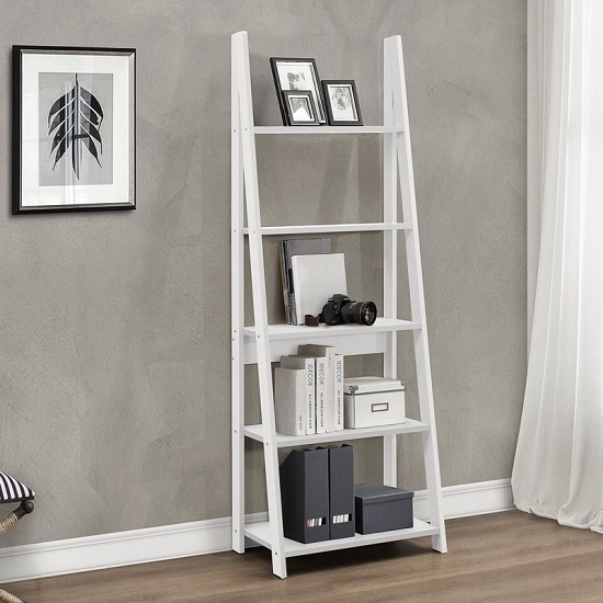 Yoder Wooden Ladder Bookcase In White With 5 Shelves