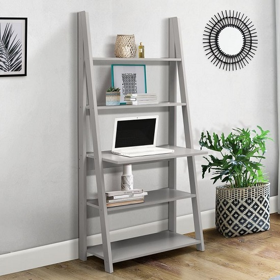 Yoder Wooden Ladder Style Desk In Grey With 5 Shelves