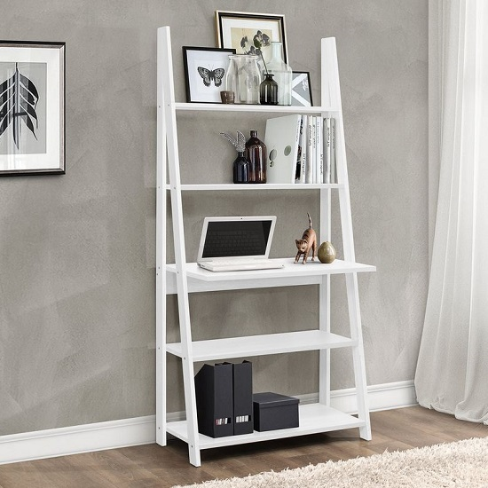 Yoder Wooden Ladder Style Desk In White With 5 Shelves