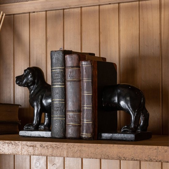 Yolky Bookend Dog Poly Sculpture In Black
