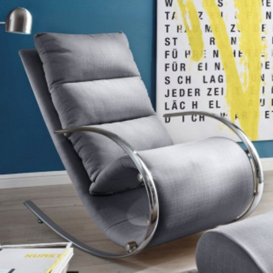 York Fabric Recliner Chair In Grey