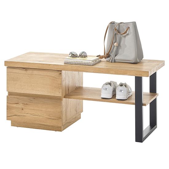View Yorkshire wooden shoe storage bench in oak