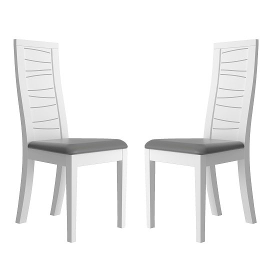 Zaire Dining Chair In White With Anthracite PU Seat In A Pair