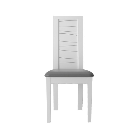 Zaire Dining Chair In White With Anthracite PU Seat In A Pair_2