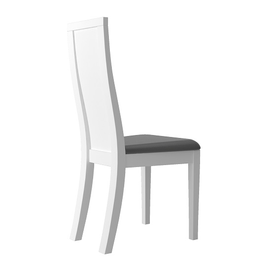 Zaire Dining Chair In White With Anthracite PU Seat In A Pair_3