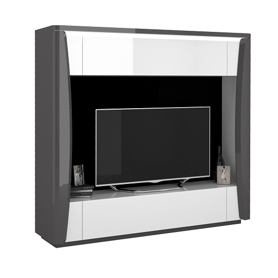 Zaire Entertainment TV Unit In White And Anthracite With LED