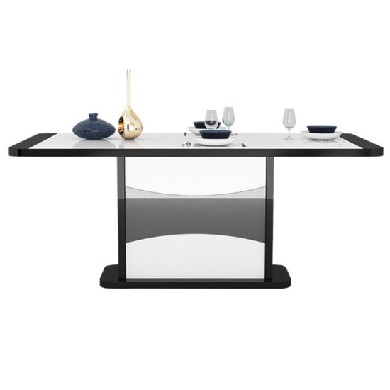 Zaire Extending Dining Table In Black And White High Gloss