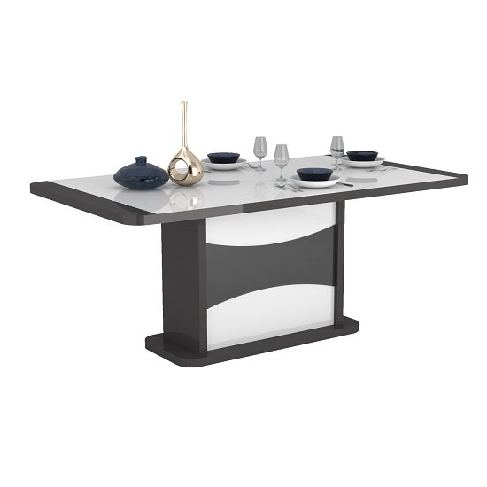Zaire Extending Dining Table In White And Anthracite Gloss