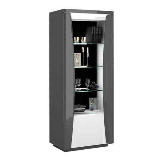 View Zaire led display cabinet in grey and anthracite gloss with 1 door