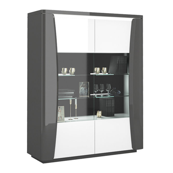 View Zaire led display cabinet in grey and anthracite gloss with 2 doors