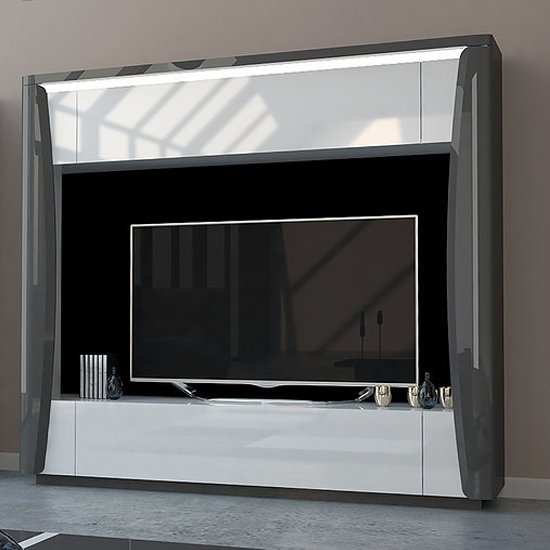 View Zaire led entertainment unit in grey and anthracite high gloss