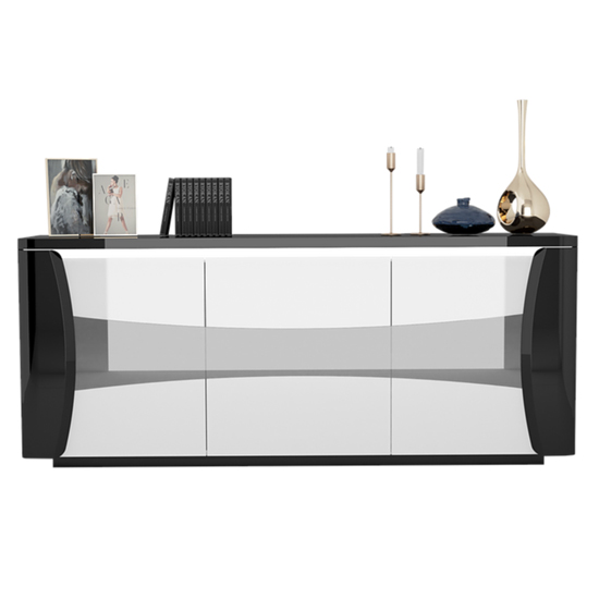 Zaire LED Sideboard In Black And White High Gloss With 3 Doors