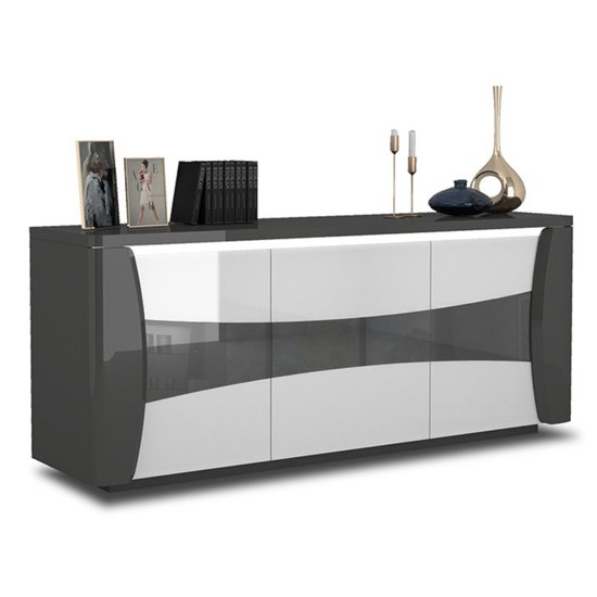 View Zaire led sideboard in grey and anthracite high gloss with 3 doors
