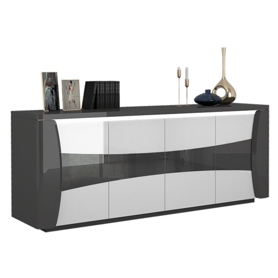 View Zaire led sideboard in grey and anthracite high gloss with 4 doors