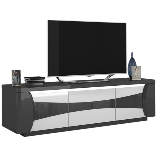 View Zaire led tv stand in grey and anthracite high gloss with 3 doors