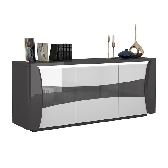 Zaire Small Sideboard In White And Anthracite Gloss With LED